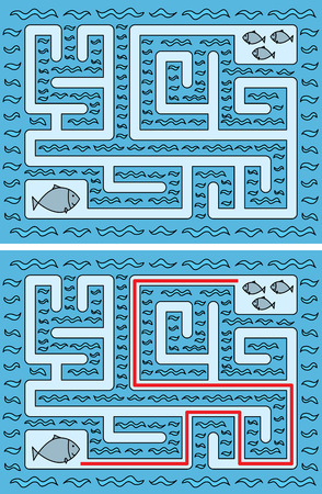 younger: Easy fishes maze for younger kids with a solution