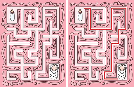 younger: Easy baby maze for younger kids with a solution