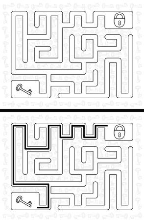 younger: Easy key maze for younger kids with a solution in black and white Illustration