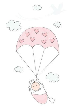 Cartoon illustration d'un bébé avec parachute flottant vers le bas et la cigogne silhouette en arrière-plan