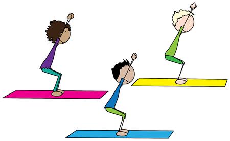 sport mats: Cartoon illustration of three kids exercising