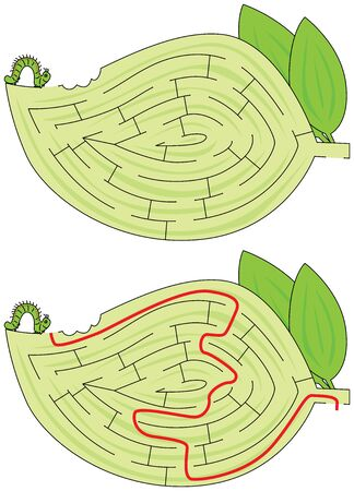 Caterpillar maze for kids with a solution