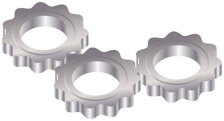 metal gears: Vector illustration of three metal gears