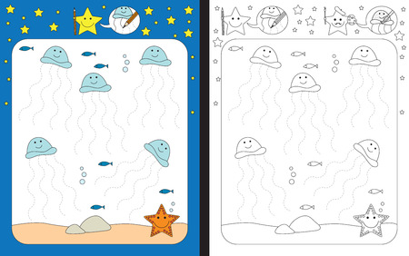 fine: Preschool worksheet for practicing fine motor skills - tracing dashed lines
