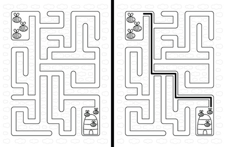 younger: Easy bees maze for younger kids with a solution in black and white Illustration