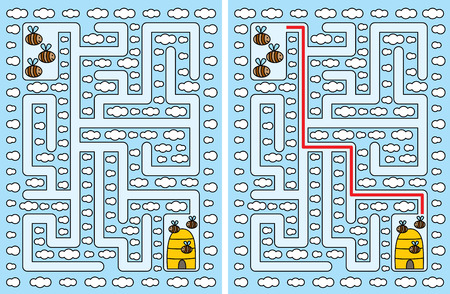 younger: Easy bees maze for younger kids with a solution