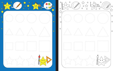 fine: Preschool worksheet for practicing fine motor skills - tracing shapes