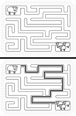 younger: Easy sheep maze for younger kids with a solution in black and white Illustration