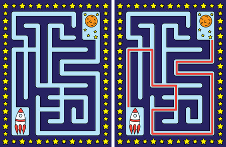 younger: Easy rocket maze for younger kids with a solution