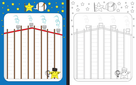 Preschool worksheet for practicing fine motor skills - tracing dashed lines Vector Illustration