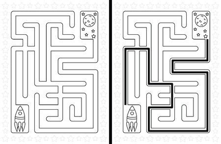 Easy rocket maze for younger kids with a solution in black and white Illustration