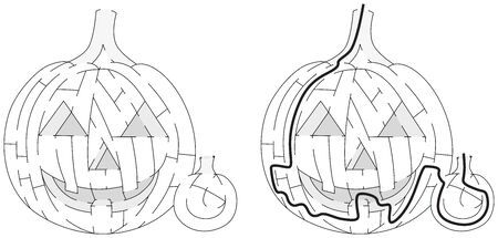 jack o: Jack O Lantern maze for kids with a solution in black and white Illustration