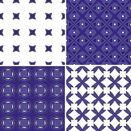 four pattern: Set of four seamless pattern illustrations in purple and white