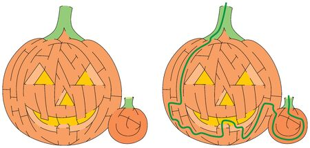 Jack O Lantern maze for kids with a solution