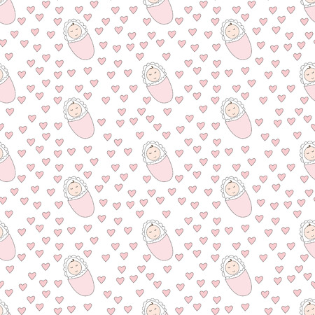 cute baby girls: Seamless pattern made of illustrated baby girls and pink hearts