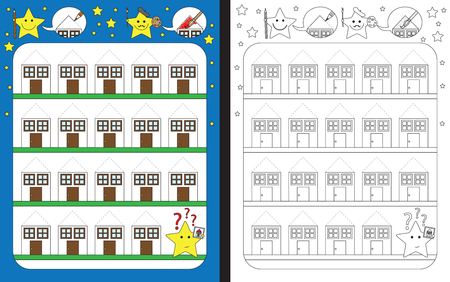 tracing: Preschool worksheet for practicing fine motor skills - tracing dashed lines