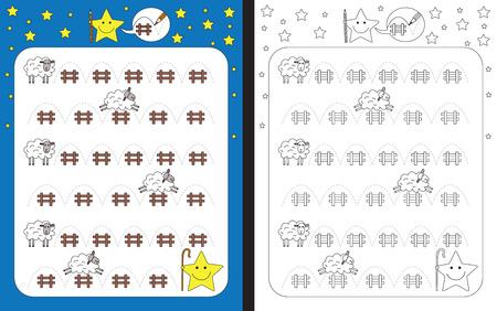 dashed: Preschool worksheet for practicing fine motor skills - tracing dashed lines