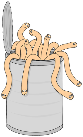 gusanos: Ilustración de dibujos animados de lata llena de gusanos