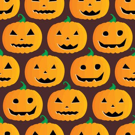 jack o  lanterns: Seamless illustrated pattern made of Jack O Lanterns on dark brown
