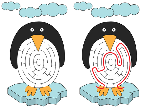 Easy penguin maze for younger kids with a solution