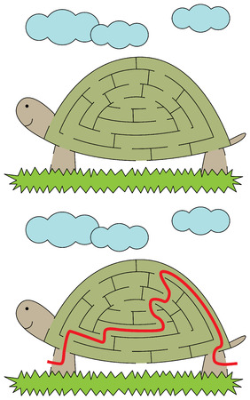 younger: Easy tortoise maze for younger kids with a solution Illustration