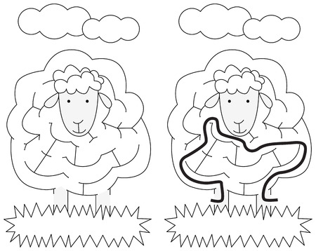 younger: Easy sheep maze for younger kids with a solution Illustration