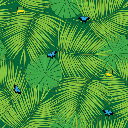 fauna: Seamless pattern made of illustrated rain forest flora and fauna