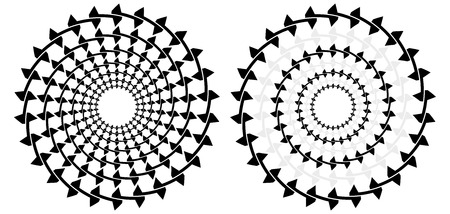 explanation: Optical illusion - seven concentric circles that look like one spiral moving in toward the center with explanation on the right