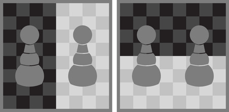 Optical illusion - grey pawns on chessboard look like they are not the same shade of grey, although they are - explanation illustration on the right