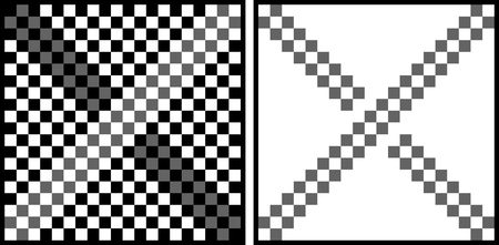 explanation: Optical illusion - gray squares on the left picture look like they are not the same shade of grey although they are - explanation on the right