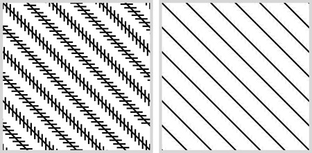 explanation: Optical illusion - the diagonal lines are not looking parallel although they are - explanation on the right