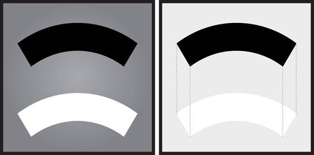 smaller: Optical illusion - black arch appears to be smaller than the white one although they are the same size - explanation on the right Illustration