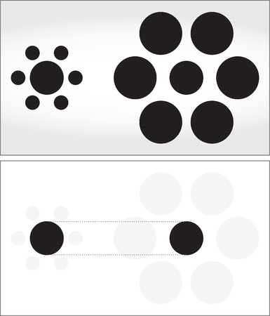 smaller: Optical illusion - middle circles looking like they are not the same size -explanation below