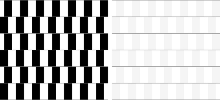 looking straight: Optical illusion - straight horizontal lines looking like they are sloping with explanation on the right