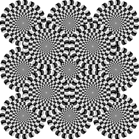 interpretation: Optical illusion - illustrated circles appear to be moving