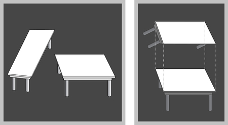 Optical illusion - two table top surfaces appear to be different size although they are not - with explanation on the right
