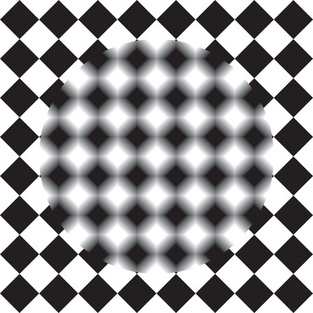 interpretation: Optical illusion - black and white squares sharp and blurry Illustration