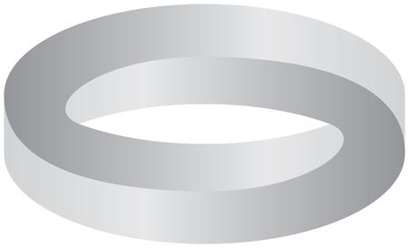 Optical illusion - illustration of 3D impossible ring Illustration