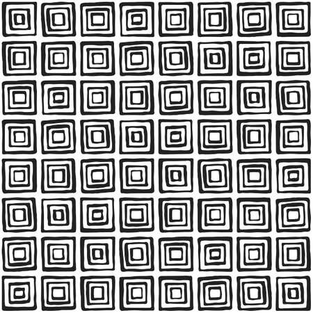 illustion: Seamless illustrated pattern made of black hand drawn elements in black and white