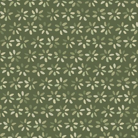 olive green: Seamless illustrated pattern made of hand drawn elements in olive green