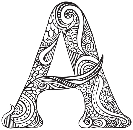 Hand drawn capital letter A in black - coloring sheet for adults Vettoriali