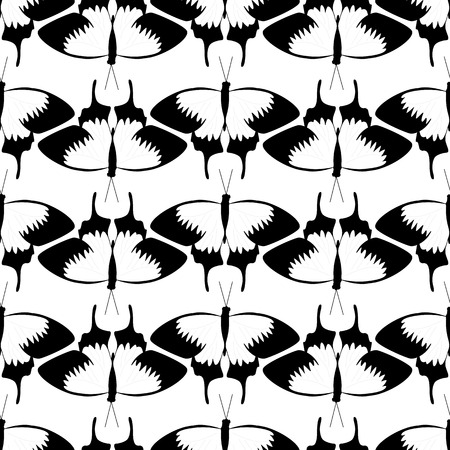 coloring sheet: Seamless illustrated pattern made of butterflies - coloring sheet for adults