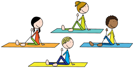 Cartoon illustration of four kids exercising Illustration