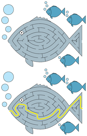 younger: Easy fish maze for younger kids with a solution