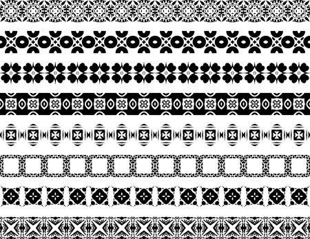 Ensemble de huit bordures décoratives illustrées en carreaux portugais en