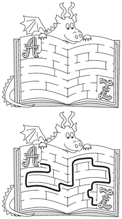 younger: Easy dragon maze for younger kids with a solution in black and white