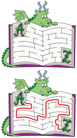 younger: Easy dragon maze for younger kids with a solution