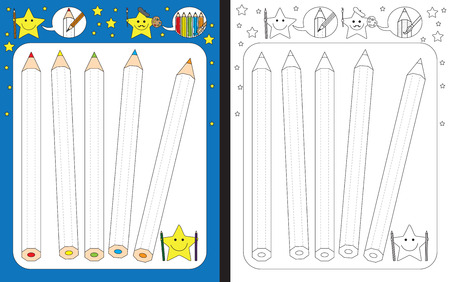 coloring sheets: Preschool worksheet for practicing fine motor skills - tracing dashed lines