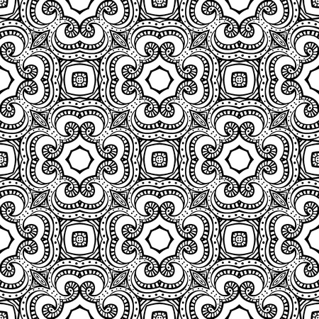 coloring sheet: Seamless illustrated pattern made of hand drawn elements - coloring sheet for adults