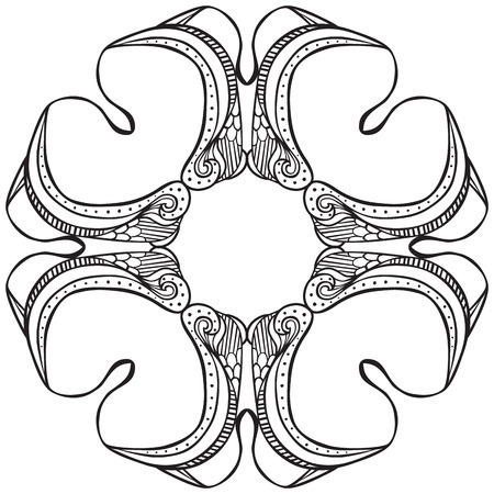 coloring sheet: Hand drawn decorative design element - like stylized flower - coloring sheet for adults